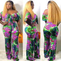 Floral Print Two Piece Pant Set SMR-9559