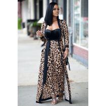 Leopard Print Long Cardigan And Pants Set NK-8503