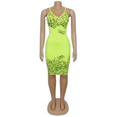 Dollar Print Backless Club Dress AIL-033