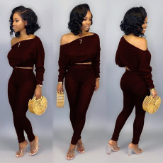 Sexy Off Shoulder Two Piece Pant Set HMS-5261