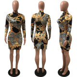 Leopard Print Long Sleeve Slim Mini Dress ARM-8009