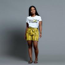 Letter T Shirt+Snake Skin Print Shorts 2 Piece Suit RM-6281