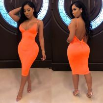 Solid Color Backless Club Dress AIL-028