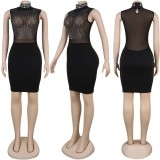 Sexy Rhinestone See-through Turtleneck Nightclub Dress NY-8878