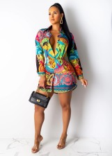 Colorful Printed Turndown Collar Shirt Dress CY-1900