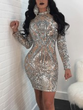 Sexy Sequin Long Sleeve Club Dress NY-8483