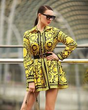 Retro Printed Long Sleeves Shirt Dresses CY-1729