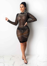 Sexy Sheer Rhinestone Long Sleeve Dress Nightclub NY-8865
