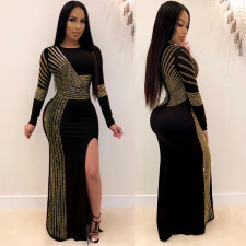 Sexy Rhinestone High Split Club Dress NY-8882
