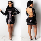Sexy Sequined Backless Long Sleeve Nightclub Dress NY-8877