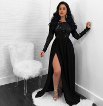 Sexy Backless Sequin Sheer Lace Split Dress NY-8873