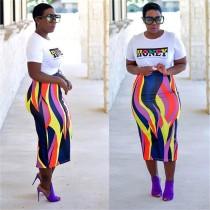 Colorful Strip High Waist Slim Long Skirt CHY-1055