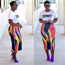 Colorful Strip High Waist Slim Long Skirt CHY-1055
