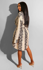 Snake Skin Print Long Sleeve Shirt Dress Without Belt LUO-3027