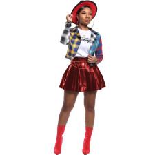 PU Leather High Waist Pleated Mini Skirt LUO-3040