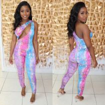 Sexy Sleeveless One Shoulder Bodycon Jumpsuit BS-1112