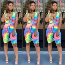 Fashion Tie-dye Print Camisole Romper CHY-1164