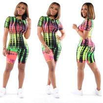 Tie Dye Print Casual Two Piece Shorts Set TE-3996