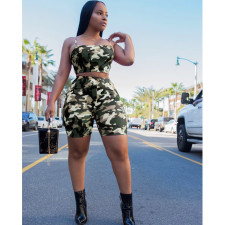 Camouflage Crop Top & Skinny Sporty Shorts ASL-6019