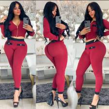 Casual Long Sleeve Zipper Two Piece Pants Set SMD-7029