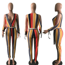 Colored Stripe Deep V Neck Jumpsuits LSD-8066