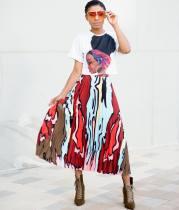Casual Short Sleeve Pleated Long Skirt 2 Piece Sets LSD-8304