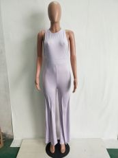 Solid Color Sling Round Neck Sleeveless Sexy Jumpsuit LSD-8230