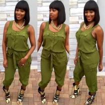 Casual Solid Sleeveless Two Piece Pants Set LSD-8128