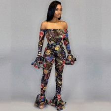 Sexy Floral Print Off Shoulder Bodycon Jumpsuit SH-3704