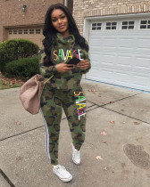 Fashion Camouflage Letters Casual Sports Suit LSD-8633