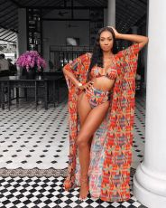 Sexy 3pcs Swimwear Printed Bikinis Sets+Long Cloak D-8260