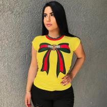Plus Size Printed O Neck Shorts Sleeve T Shirt MA-063
