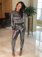 Casual Sequined Long Sleeve Two Piece Pants Set MA-122