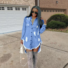 Casual Ripped Hole Tassel Denim Shirt Dress OD-8217
