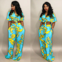 Plus Size Leaves Print Tie Up Two Piece Set FNN-8121