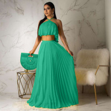 Sexy Chiffon Pleated Maxi Skirt Two Piece Sets OD-8284