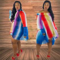 Plus Size Rainbow Stripe Slash Neck Loose Dress HM-6079