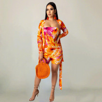 Floral Print Strapless Rompers+Cardigan Coat 2 Piece Sets TR-1009