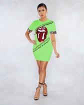 Fashion Sequins Big Mouth Print Short Sleeve Sexy Dress HGL-1309