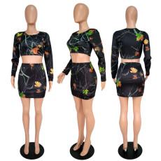 Long Sleeve Print Open Waist Skirt Set ML-7125
