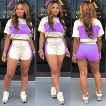Casual Tracksuit Patchwork Two Piece Shorts Set ML-7220