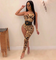 Sexy Leopard One Shoulder Asymmetry Jumpsuits ML-7251