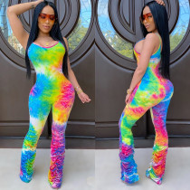 Colorful Printed Pleated Sling jumpsuit CH-8098