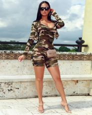 Fashion Camouflage Print Two-piece Set ML-7257
