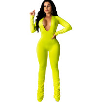 Solid Deep V Neck Long Sleeve Bodycon Jumpsuit SFY-001