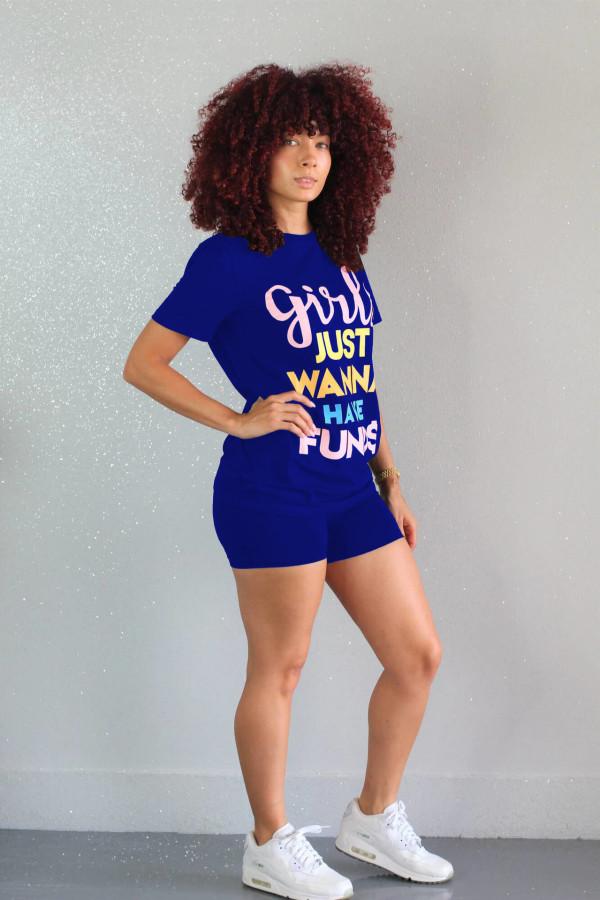 Fashion Letter Print Casual Shorts Set ML-7234