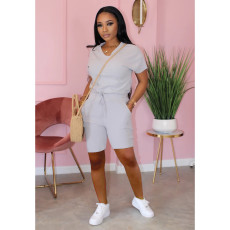 Casual Solid V Neck Two Piece Shorts Set TK-6065