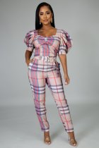 Plaid Print Short Sleeve Jumpsuit With Belt MIL-085