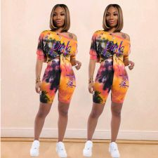 Tie Dye Print Slash Neck Two Piece Shorts Set MDF-5118