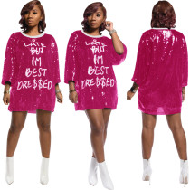Sexy Letter Sequin Dress SFY-068